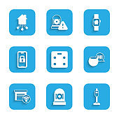 Set Smart bathroom scales, Ringing alarm bell, Vacuum cleaner, Voice assistant, garage, Digital door lock, home with smart watch and icon. Vector