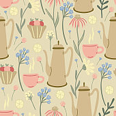 Herbal seamless pattern with wild flowers, lemons, desserts, cups and coffee pots on beige