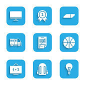 Set Exam paper with incorrect answers, School backpack, Light bulb concept of idea, Basketball ball, Chalkboard, Bus, Eraser rubber and Computer monitor screen icon. Vector