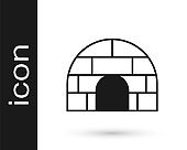 Black Igloo ice house icon isolated on white background. Snow home, Eskimo dome-shaped hut winter shelter, made of blocks. Vector