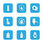 Set Water drop forbidden, Bottle of water, Fire hydrant, Mechanical pump, Big bottle with clean, Test tube, speech bubbles and icon. Vector