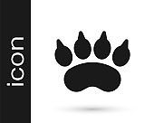 Black Bear paw footprint icon isolated on white background. Vector