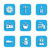 Set Bottle of olive oil, Pinocchio, Location flag Italy, Coliseum Rome, Men shoes, Cheese, and Pizza icon. Vector
