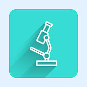 White line Microscope icon isolated with long shadow. Chemistry, pharmaceutical instrument, microbiology magnifying tool. Green square button. Vector