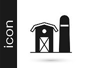Black Farm house icon isolated on white background. Vector