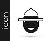 Black Canadian ranger hat uniform icon isolated on white background. Vector