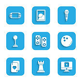 Set Gamepad, Business strategy, Online play video, Bowling ball, Playing cards, Joystick for arcade machine, Microphone and Portable game console icon. Vector