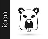 Black Beaver animal icon isolated on white background. Vector
