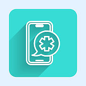 White line Emergency mobile phone call to hospital icon isolated with long shadow. Green square button. Vector