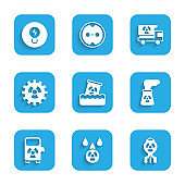 Set Radioactive waste in barrel, Acid rain and radioactive cloud, Nuclear bomb, power plant, Electric car charging station, Truck with radiation materials and Light bulb concept of idea icon. Vector