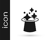 Black Magic hat icon isolated on white background. Magic trick. Mystery entertainment concept. Vector