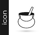 Black Witch cauldron icon isolated on white background. Happy Halloween party. Vector