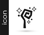 Black Magic staff icon isolated on white background. Magic wand, scepter, stick, rod. Vector