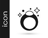 Black Fantasy magic stone ring with gem icon isolated on white background. Vector