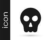 Black Skull icon isolated on white background. Happy Halloween party. Vector