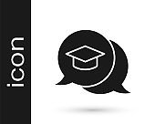 Black Graduation cap in speech bubble icon isolated on white background. Graduation hat with tassel icon. Vector