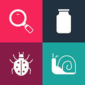 Set pop art Snail, Mite, Glass jar and Magnifying glass icon. Vector