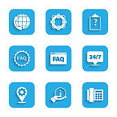 Set Browser FAQ, Information, Telephone, Clock 24 hours, Location with gear, Label text, Clipboard question marks and support icon. Vector