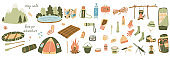 Big set of vector illustrations of tourism and camping equipment in flat style.
