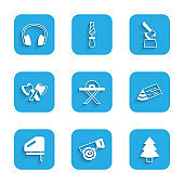 Set Electric circular saw, Hand and log, Christmas tree, Wooden beam, jigsaw, axe, in stump and Headphones icon. Vector