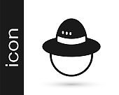 Black Camping hat icon isolated on white background. Beach hat panama. Explorer travelers hat for hunting, hiking, tourism. Vector