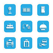 Set Shower head, Lift, Digital door lock, Covered with tray, Taxi car, Bedroom, Refrigerator and Parking icon. Vector