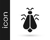 Black Mosquito icon isolated on white background. Vector