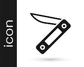 Black Swiss army knife icon isolated on white background. Multi-tool, multipurpose penknife. Multifunctional tool. Vector