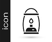 Black Camping lantern icon isolated on white background. Vector