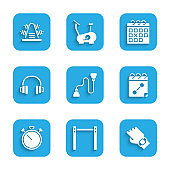 Set Chest expander, Horizontal bar, Smart watch hand, Calendar fitness, Stopwatch, Headphones, and Metal rack with weights icon. Vector