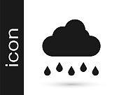 Black Cloud with rain icon isolated on white background. Rain cloud precipitation with rain drops. Vector