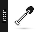 Black Shovel icon isolated on white background. Gardening tool. Tool for horticulture, agriculture, farming. Vector