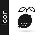 Black Lemon icon isolated on white background. Vector