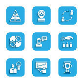 Set Speech bubble chat, Training, presentation, Award cup, Boss with employee, Human lamp bulb, Piece of puzzle, resources and Pyramid chart infographics icon. Vector