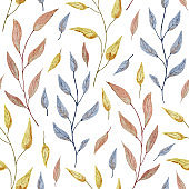 Beautiful seamless pattern with autumn tree branches