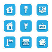 Set House key, under protection, Hanging sign with text Sold, Online real estate house and dollar symbol icon. Vector