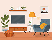 Comfortable chair, tv and house plants. Vector flat  style cartoon illustration.