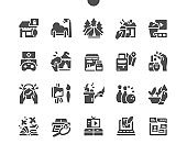 Free time. Hobbies and leisure activities. Cinema, gaming, travels and camping, cookery and painting. Creative artistic hobbies. Vector Solid Icons. Simple Pictogram