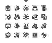 Hobbies and leisure activities. Traveling, tourism, swimming, cookery and pottery. Mechanic working with machine. Creative artistic hobbies. Vector Solid Icons. Simple Pictogram