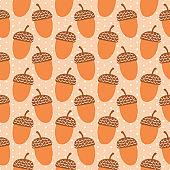 Cute autumn cartoon acorn illustration.