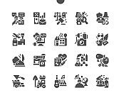Profession attributes. Occupations, career, worker, labor and government officer. Pilot, lawyer, barista, writer, chef, scientist and other. Vector Solid Icons. Simple Pictogram