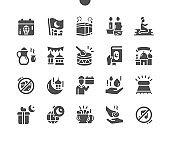 Ramadan Arabic Islamic celebration. Month of the Quran. Arabic tamdourine. Ramadan Mubarak, Ramadan Kareem. Vector Solid Icons. Simple Pictogram