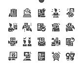 Job Resume. Interview, career path, resume, target and experience. Employee selection. Resume accepted. Computer skill. Vector Solid Icons. Simple Pictogram