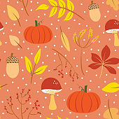 Cute autumn illustration print. Colorful fall seamless pattern vector.