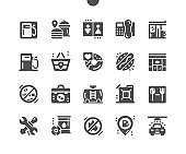 Gas station. Barrel of gasoline. Car wash services. Transport, repairs, energy, industry, benzine, gasoline, service, diesel. Vector Solid Icons. Simple Pictogram