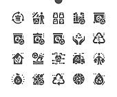 Recycling. Protect the environment. Garbage for recycling. Glass and paper recycling. Garbage truck. Vector Solid Icons. Simple Pictogram