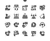 Call Center. Mobile support service. Online, conversation, operator, technical, phone, help. Vector Solid Icons. Simple Pictogram