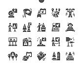 International Day of Human Space Flight 12 April. Cosmonaut. Calendar. Twelfth of april. Holiday. Space rocket exhibition. Vector Solid Icons. Simple Pictogram