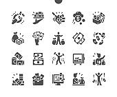 A lot of money. Safe. Rich man. Finance, investment, bank, budget and cash. Vector Solid Icons. Simple Pictogram