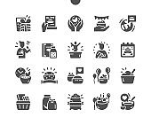 World Festival of Oatmeal. Calendar. Holiday. Invitation to the festival. Favourite oatmeal. Party and celebrate. Vector Solid Icons. Simple Pictogram